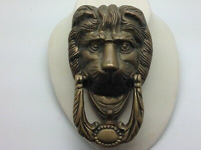 Vintage Antique Victorian Georgian Solid Brass Lion Head Mane Face Door Knocker