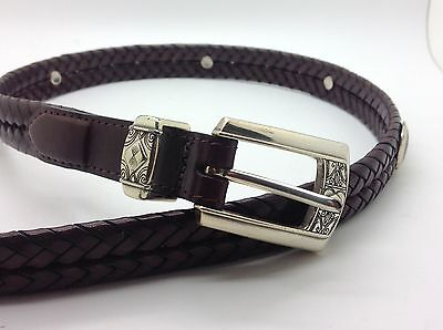 """BRIGHTON Dark Brown Woven Leather Belt 26"""" Extra Small XS"""