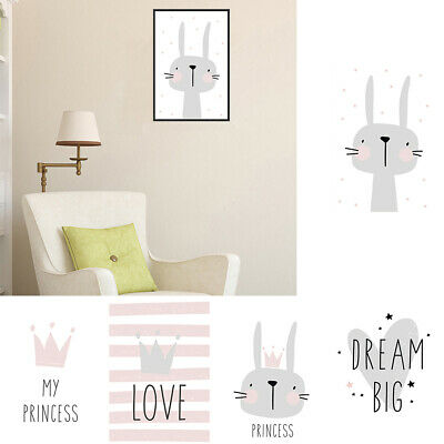 Nordic Cartoon Rabbit Letter Canvas Printed Home Kids Room Wall Painting Newly