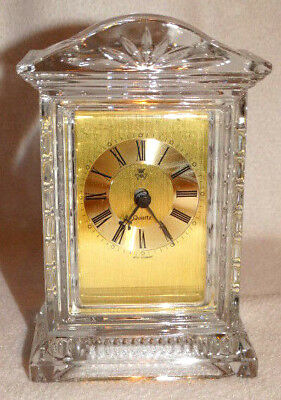 """Vintage Hechinger W. Germany 24% Lead Crystal 6.5"""" Tall Desk Clock"""