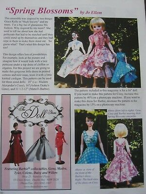 Spring Blossoms for 18, 16 & 12 inch sized dolls Fashion Frock &  knitted Jacket