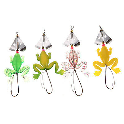 4Pcs Rubber Frog Fishing Lures Bass Baits CrankBaits Sinking Tackle 9cm 6.2g Hot
