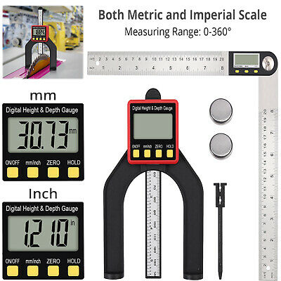 Digital Angle Finder Rule 8 inch Stainless Steel Protractor+Digital Height Gauge