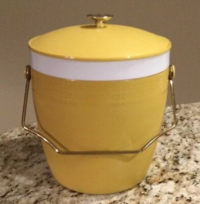 Vintage Midcentury Therm-o-ware 1960's Insulated Ice Bucket Yellow Gold