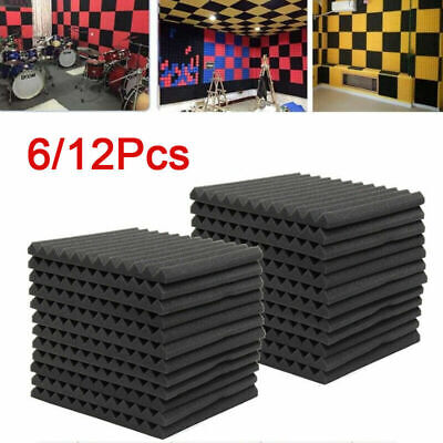 12/24PCs Acoustic Panels Tiles Studio Sound Proofing Insulation Closed Cell Foam