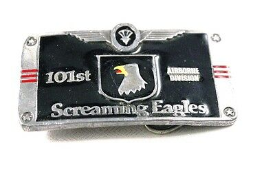 """Vintage 3"""" USA Military Army 101st Airborne Screaming Eagles Belt Buckle Used"""