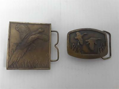 Lot of 2 Brass Belt Buckles Pheasant and Ducks Indian Metal