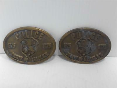 Vintage Lot of 2 1975 POLICE County of Nassau, NY Commemorative Belt Buckle