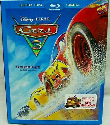Cars 3 (Blu-ray + DVD + Digital) (2017) Disney (3-Disc Set) 100% Authentic Pixar