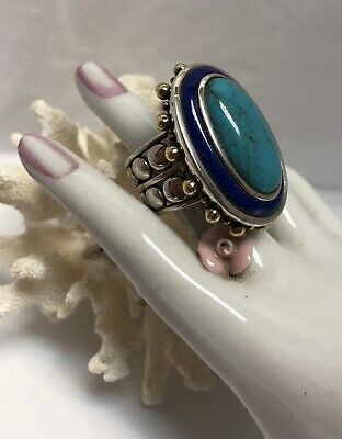 "ECHO of the DREAMER ""TURQUOISE LAPIS"" STERLING SILVER & BRONZE RING (7)-Estate"
