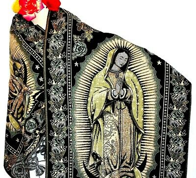 Virgen de Guadalupe Shawl Chal Rebozo Pashmina Brown//color Virgin Mary Guadalupe
