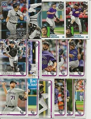 COLORADO ROCKIES 2019 Topps Series 1 MASTER TEAM SET w/ SP INSERTS (15 Cards)