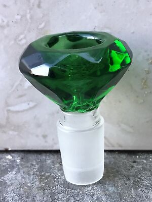 New! Thick Glass 18mm Male Large Round Green Diamond Cut Herb Bowl