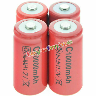 4x C size 1.2V 10000mAh Ni-MH Red Color Wiederaufladbare Battery