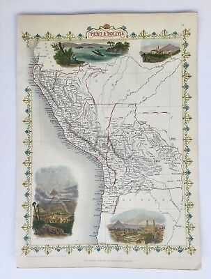 Peru And Bolivia Map - By John Tallis - 1851 - Original Antique Map