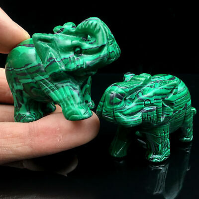 """2/"""" Natural Balmatin Elephant Hand Carved Crystal Healing Collect Statue 1pc"""