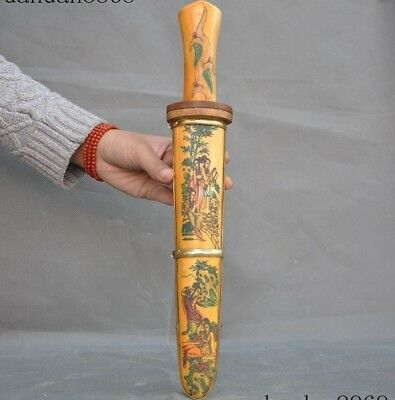 China Old Cattle bone Hand carved Ancient beauty Woman Statue Knife Sword Dagger