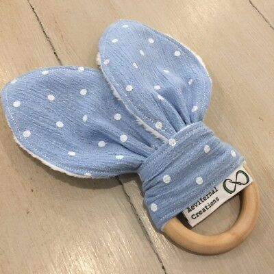 Natural Wood And Cotton Crinkle Sound Bunny Ears Teething Ring, Soother, Blue