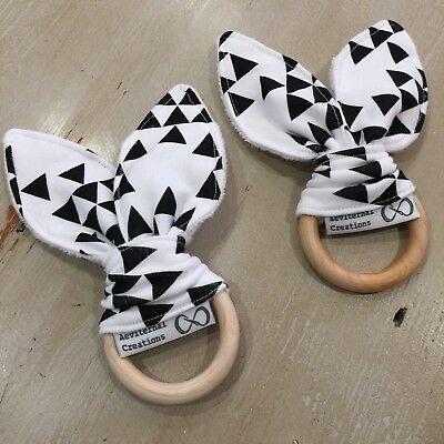 Wood And Cotton Crinkle Sound Bunny Ears Teething Ring, Black & White Triangle