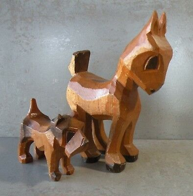 Pair of 1930's Hand Carved Wood Deer and Fox Terrier Figurines - Friends 4 Ever!