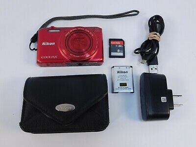 Nikon COOLPIX S6800 16.0MP Digital Camera WiFi Red Tested Working 8GB Very Clean