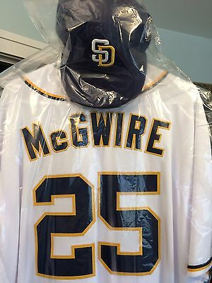 dff79798f5f Mark McGwire Game Used Worn 2016 San Diego Padres Jersey Hat Cap MLB  Authentic