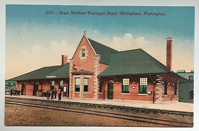 WA Postcard Bellingham Washington Great Northern RR Train Railroad Depot Station