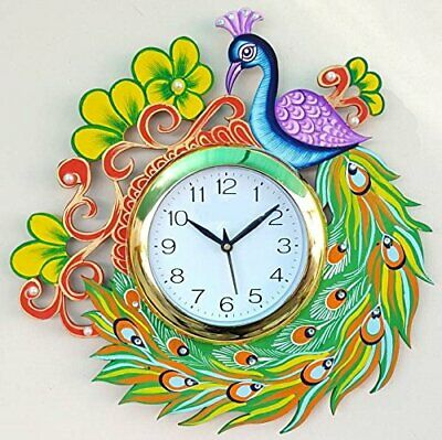 """Peacock Wall Clock Vintage Analog Clock Antique Wooden Hand Painted Clock 14"""""""