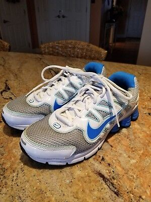 sports shoes a3beb 130bc Nike Shox Qualify 2 Running Sneakers Shoes Blue silver white 442115-044  Womens