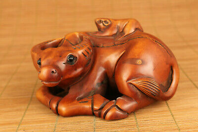 Rare chinese boxwood hand carved ox statue part flaw