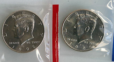 1996 P and D Kennedy Half Dollar Coin from US Mint Set 2 BU Cello Fifty Cent UNC
