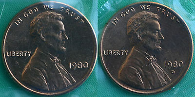 1980 P and D Lincoln Cent 2-Coin from US Mint Set UNC Cello One Cent Penny Set