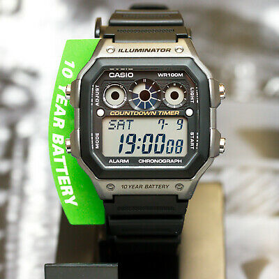Casio AE1300WH-8AV Mens Watch 9 Timers 10 Year Battery World Time 5 Alarms New