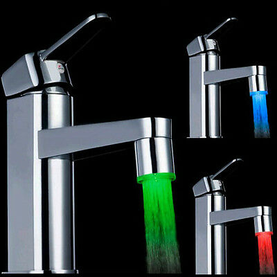 7 Color Glow Shower Waterfall Led Light Water Faucet Temperature Sensor Tap New