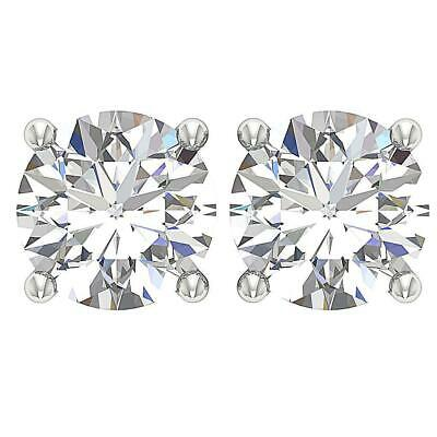 Solitaire Studs Earrings Round Diamond I1 H 1.50Ct Screw Back Prong Set 14K Gold