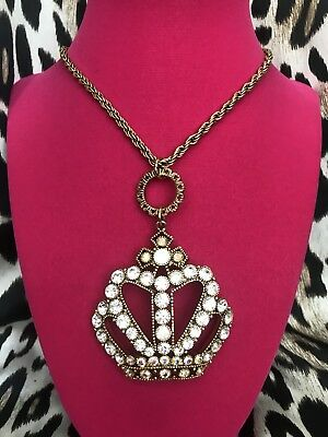 Betsey Johnson Vintage Crown Jewel Crystal AB Opal Long Gold Necklace VERY RARE