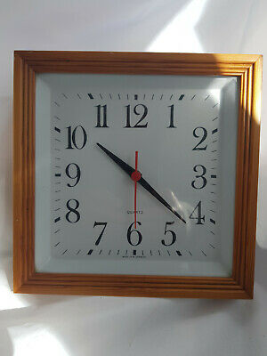 Vintage Seventies Eighties West German Square Wall Clock with Pine wood Surround