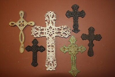 (6), Country Garden Style Christian Wall Cross Set, Cast Iron,Unique Cross Decor