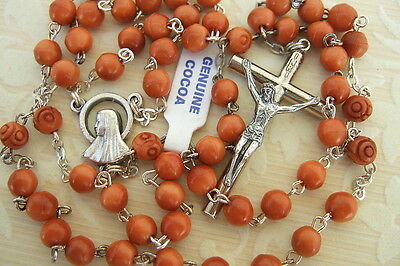 Catholic Rosary 5mm  BROWN Genuine COCOA Wood beads Mary medal NOS w/ tag