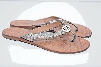 d6055eb048f0 TORY BURCH WOMENS THORA Leather Thong Silver Flip Flops Sandals sz ...