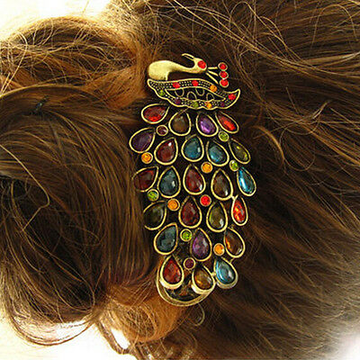 1pcs Girls Women Vintage Crystal Rhinestone Peacock Hair Barrette Clip Hairpin _
