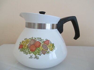 """Vintage Corning Ware Tea Pot, Spice Of Life """"le The"""", 6 Cup, P-104, Metal Lid"""