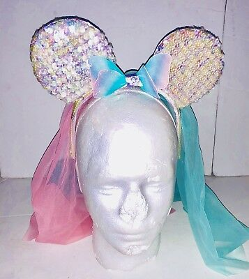 Disney Parks Iridescent Glitter Sequin Minnie Mouse Ears Headband Unicorn Veil