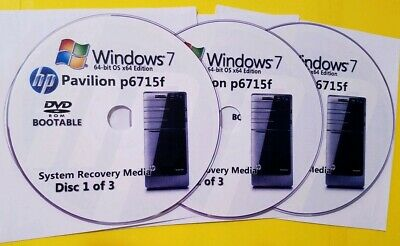 HP Pavilion p6715f Factory Recovery Media 3-Disc Set / Windows 7 64-bit