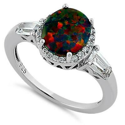 Melchior Jewellery Sterling Silver Dazzling BLACK OPAL CZ Ring Gift Boxed