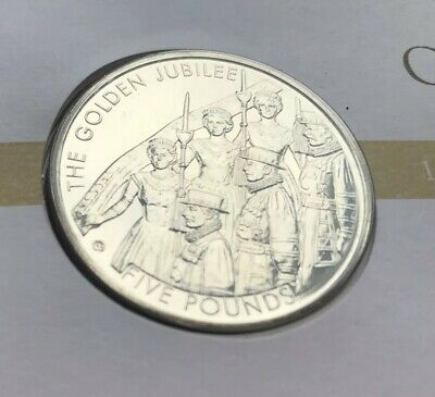 £5 Five Pound Coin - BUNC - 2002 Golden Jubilee - Prestige Stamp Book Pane FDC