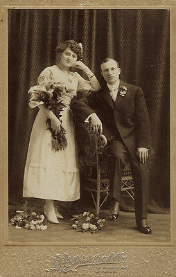 Portrait Of A Spunky Bride And Her Groom In Chicago, Illinois  (Cabinet Card)