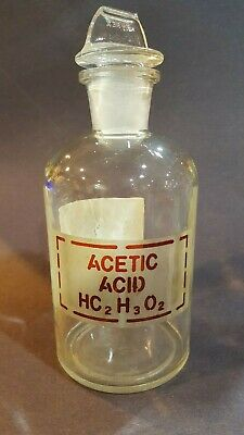 Corning Pyrex Acetic Acid Reagent Bottle With #24 Glass Flange Stopper