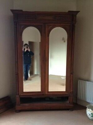 Antique Victorian Solid Mahogany Double Mirrored Wardrobe