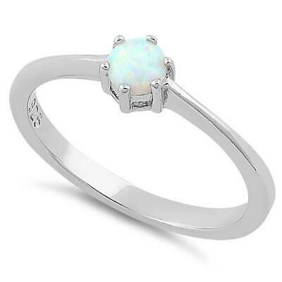 Melchior Jewellery Rhodium Plated Sterling Silver White Round Opal Created Ring